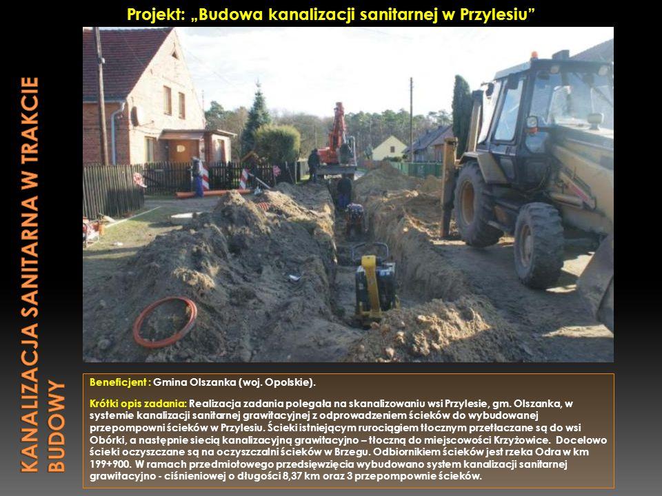 kanalizacja sanitarna w trakcie budowy