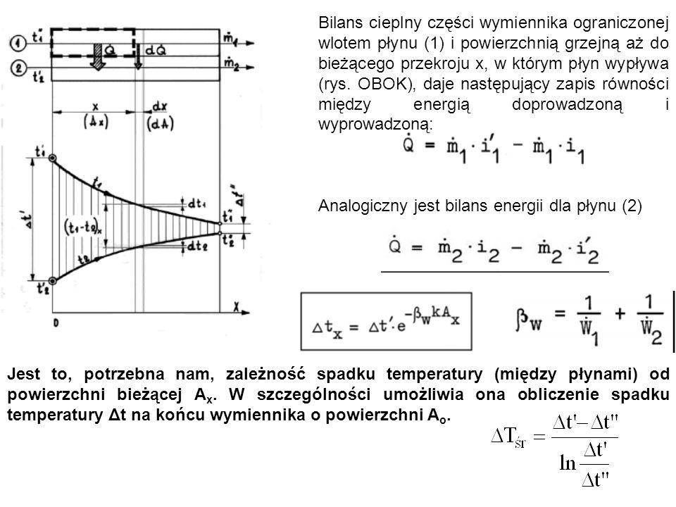 Bilans cieplny części wymiennika ograniczonej wlotem płynu (1) i powierzchnią grzejną aż do bieżącego przekroju x, w którym płyn wypływa (rys. OBOK), daje następujący zapis równości między energią doprowadzoną i wyprowadzoną: