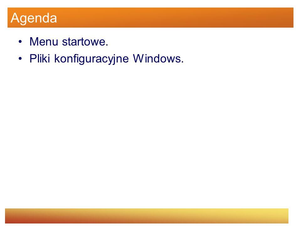 Agenda Menu startowe. Pliki konfiguracyjne Windows.