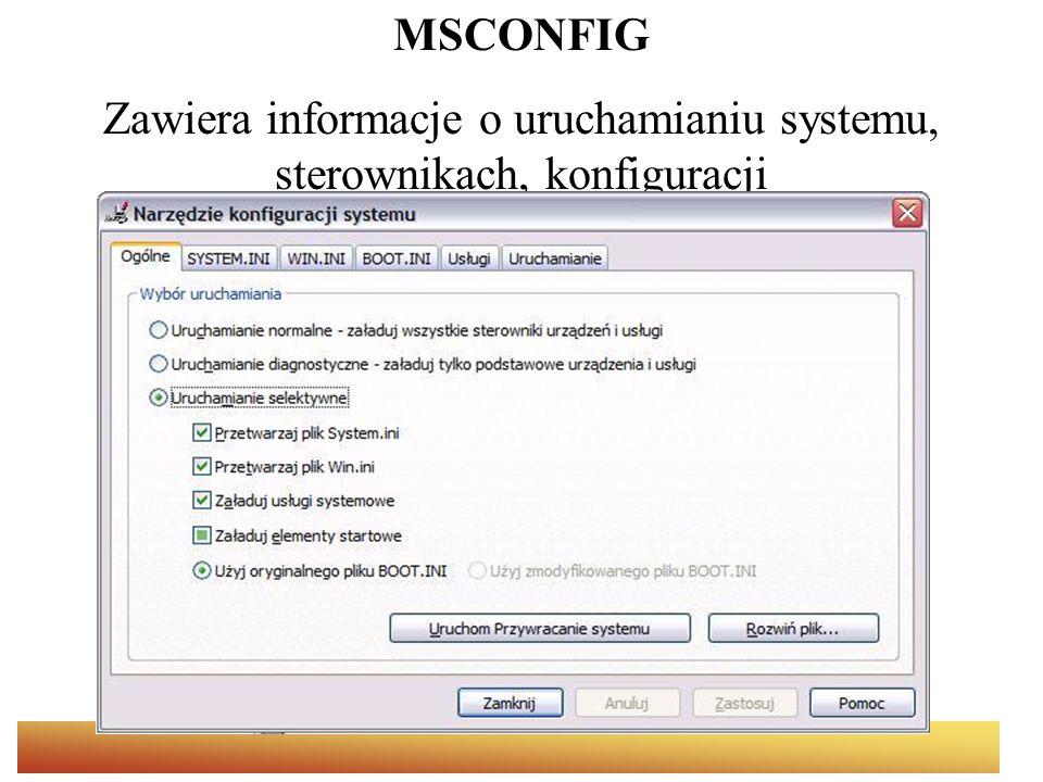 Zawiera informacje o uruchamianiu systemu, sterownikach, konfiguracji