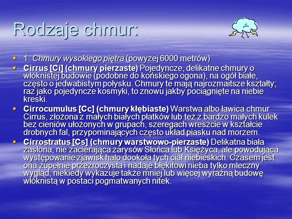 Rodzaje chmur: 1. Chmury wysokiego piętra (powyżej 6000 metrów)