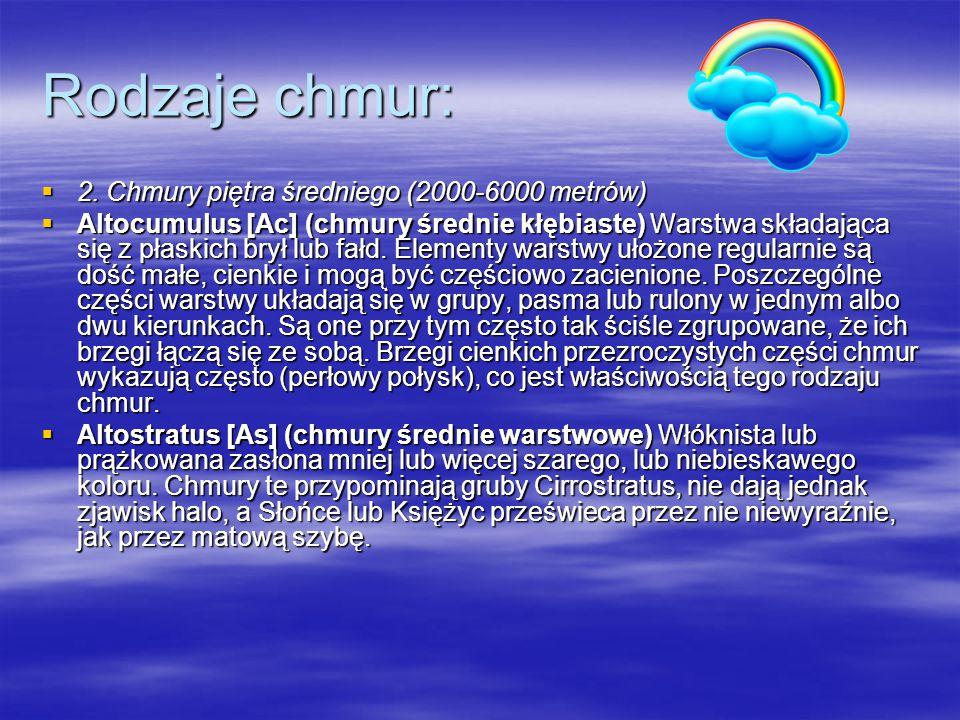 Rodzaje chmur: 2. Chmury piętra średniego (2000-6000 metrów)