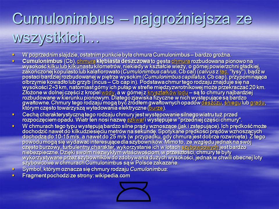 Cumulonimbus – najgroźniejsza ze wszystkich…