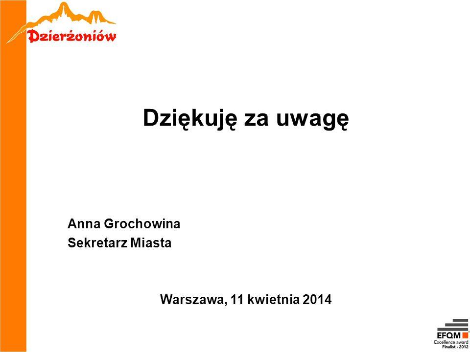 Dziękuję za uwagę Anna Grochowina Sekretarz Miasta