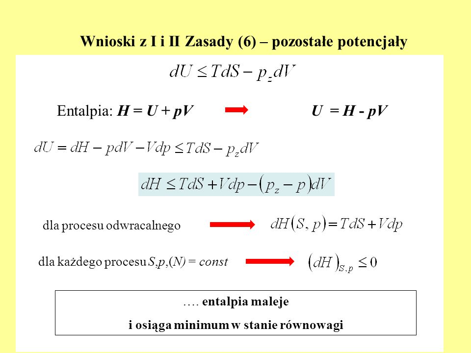 Wnioski z I i II Zasady (6) – pozostałe potencjały