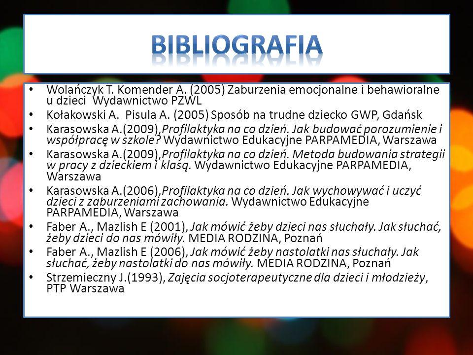 Bibliografia Wolańczyk T. Komender A. (2005) Zaburzenia emocjonalne i behawioralne u dzieci Wydawnictwo PZWL.
