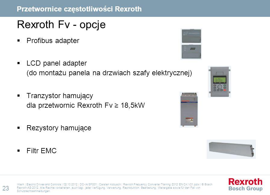 Rexroth Fv - opcje Przetwornice częstotliwości Rexroth