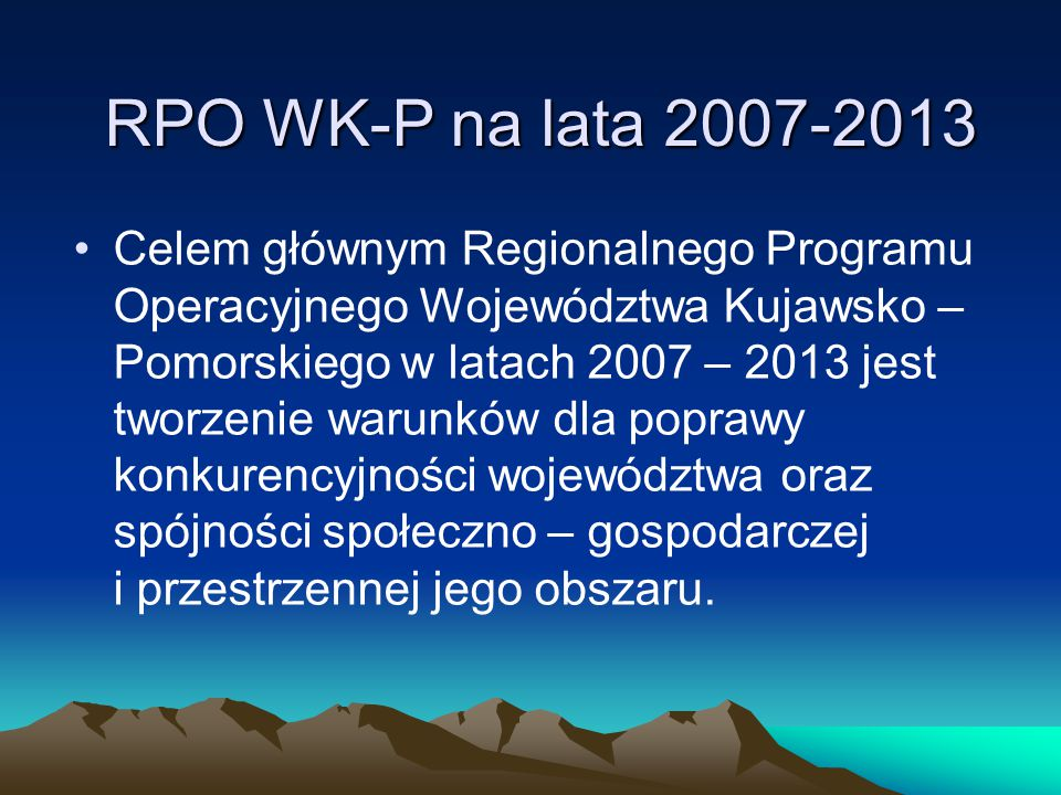 RPO WK-P na lata 2007-2013
