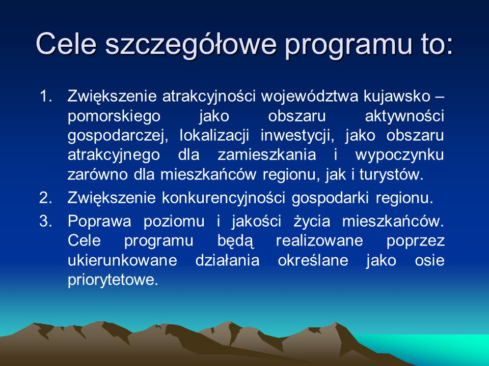 Cele szczegółowe programu to: