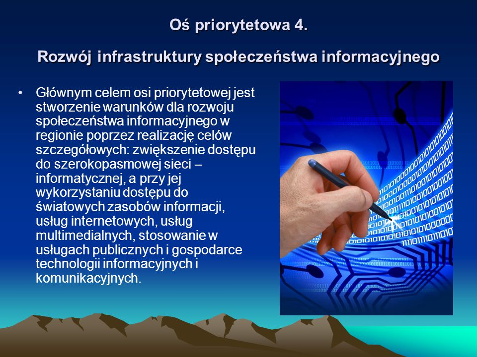 Oś priorytetowa 4. Rozwój infrastruktury społeczeństwa informacyjnego