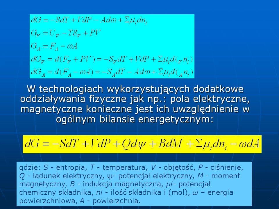W technologiach wykorzystujących dodatkowe oddziaływania fizyczne jak np.: pola elektryczne, magnetyczne konieczne jest ich uwzględnienie w ogólnym bilansie energetycznym: