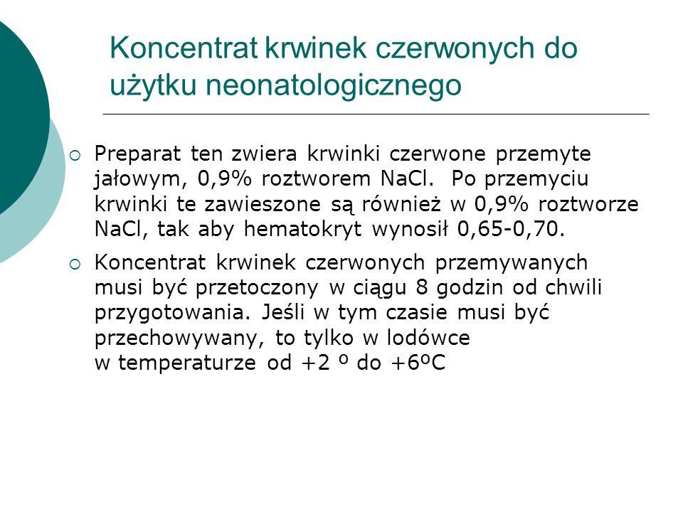 Koncentrat krwinek czerwonych do użytku neonatologicznego
