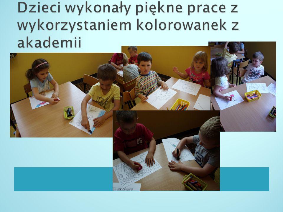 Dzieci wykonały piękne prace z wykorzystaniem kolorowanek z akademii