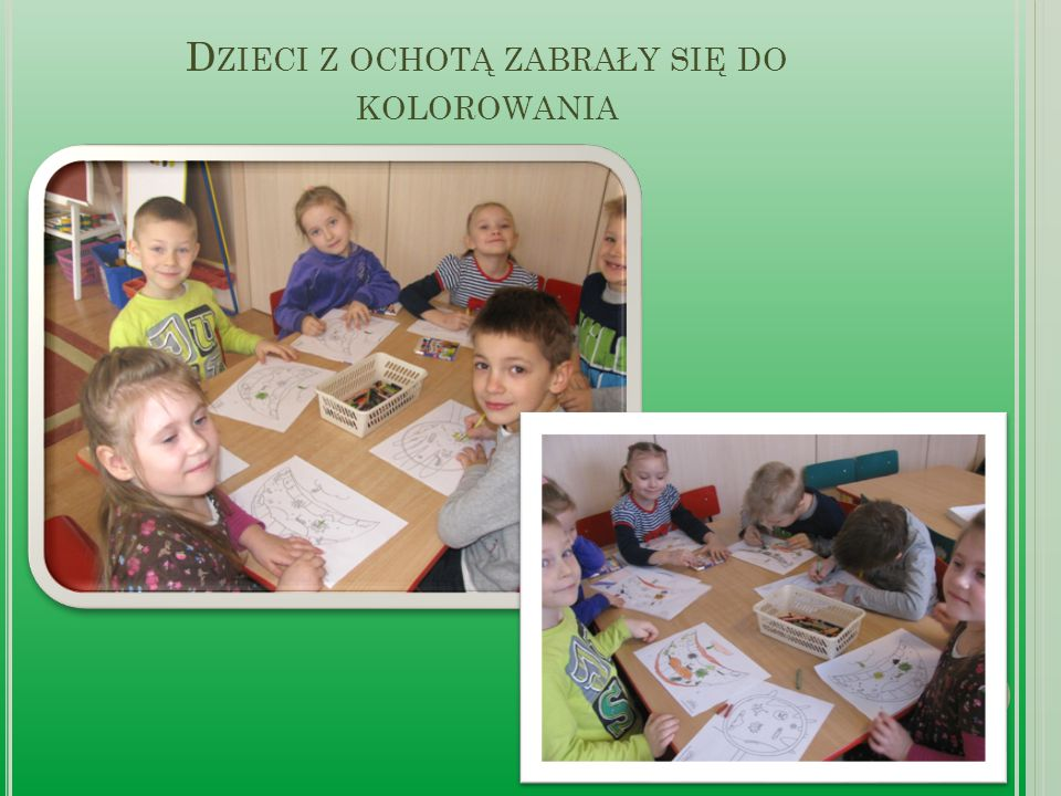 Dzieci z ochotą zabrały się do kolorowania