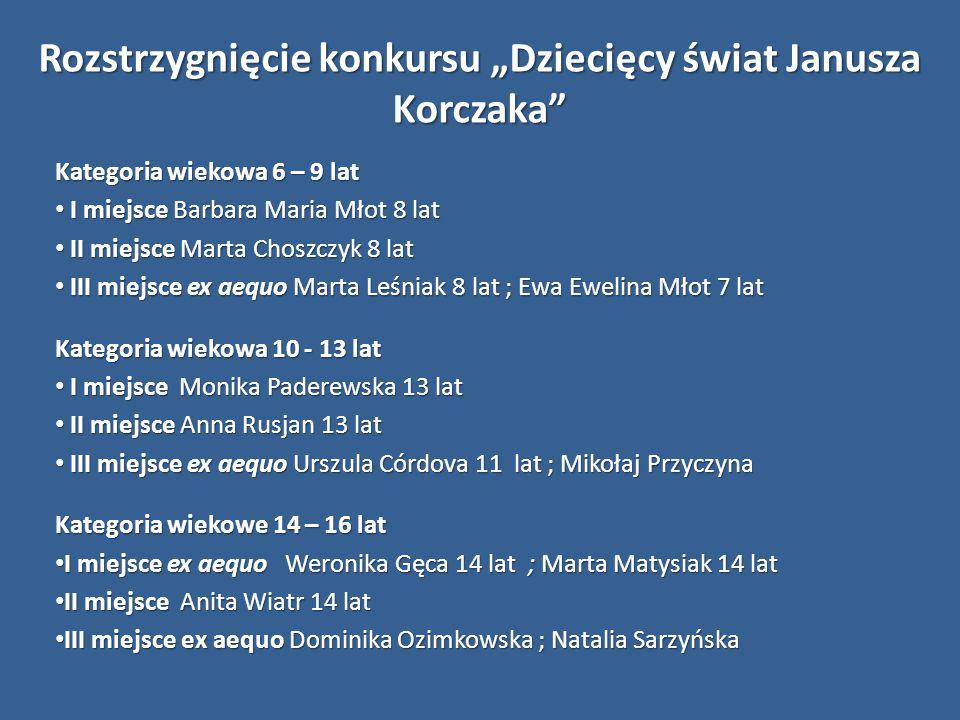 """Rozstrzygnięcie konkursu """"Dziecięcy świat Janusza Korczaka"""