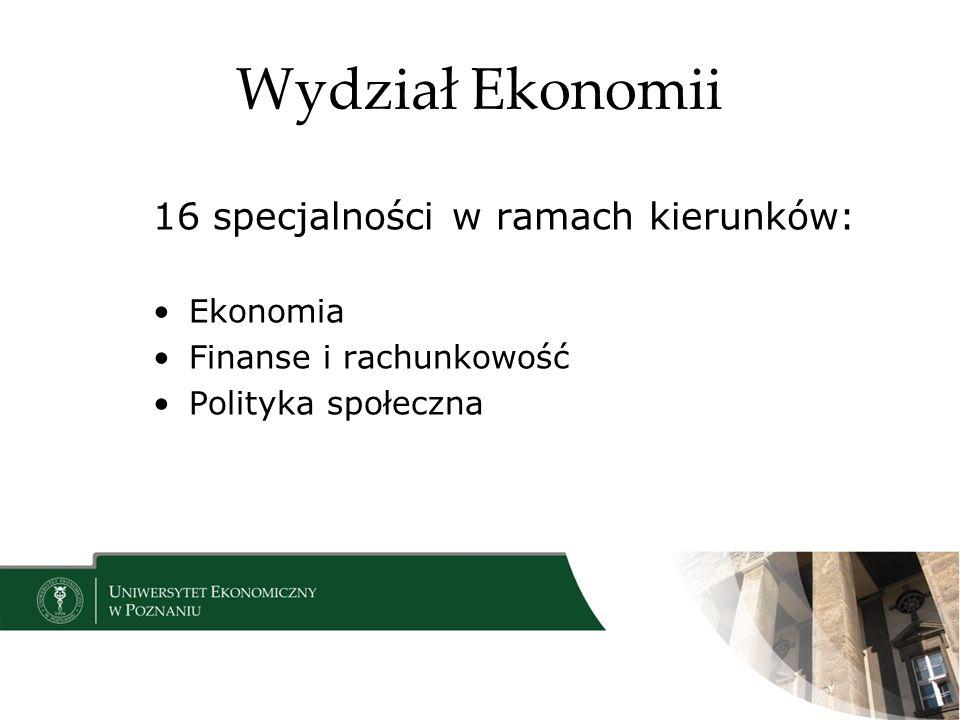 Wydział Ekonomii 16 specjalności w ramach kierunków: Ekonomia
