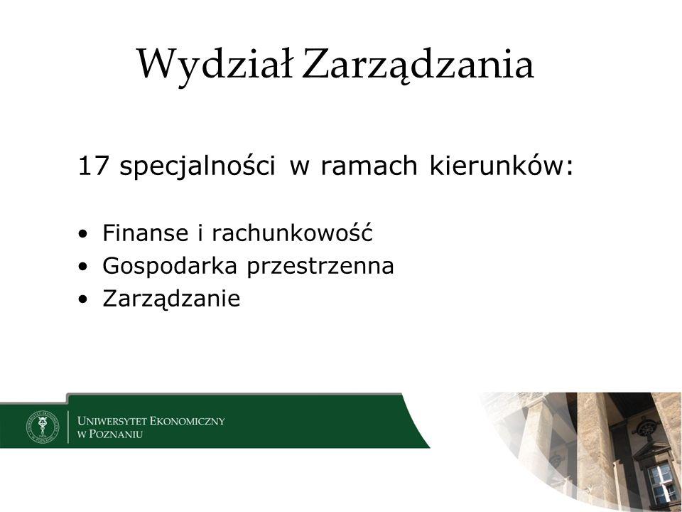 Wydział Zarządzania 17 specjalności w ramach kierunków: