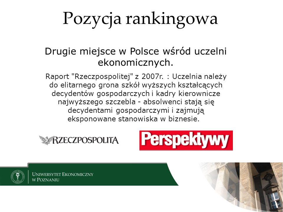 Drugie miejsce w Polsce wśród uczelni ekonomicznych.