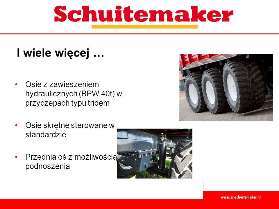 I wiele więcej … Osie z zawieszeniem hydraulicznych (BPW 40t) w przyczepach typu tridem. Osie skrętne sterowane w standardzie.