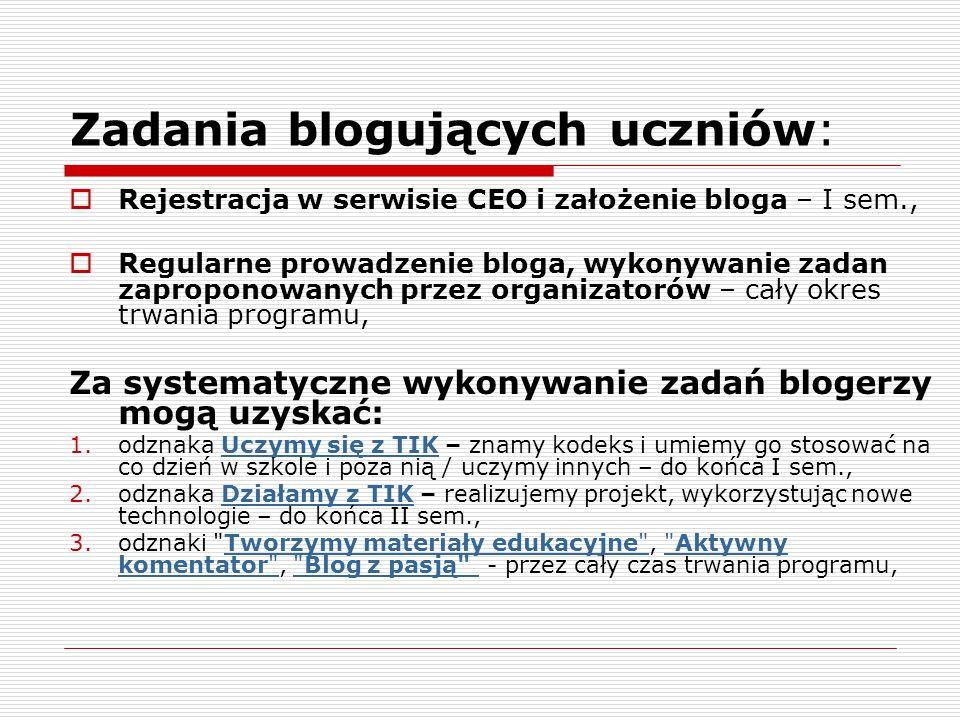 Zadania blogujących uczniów: