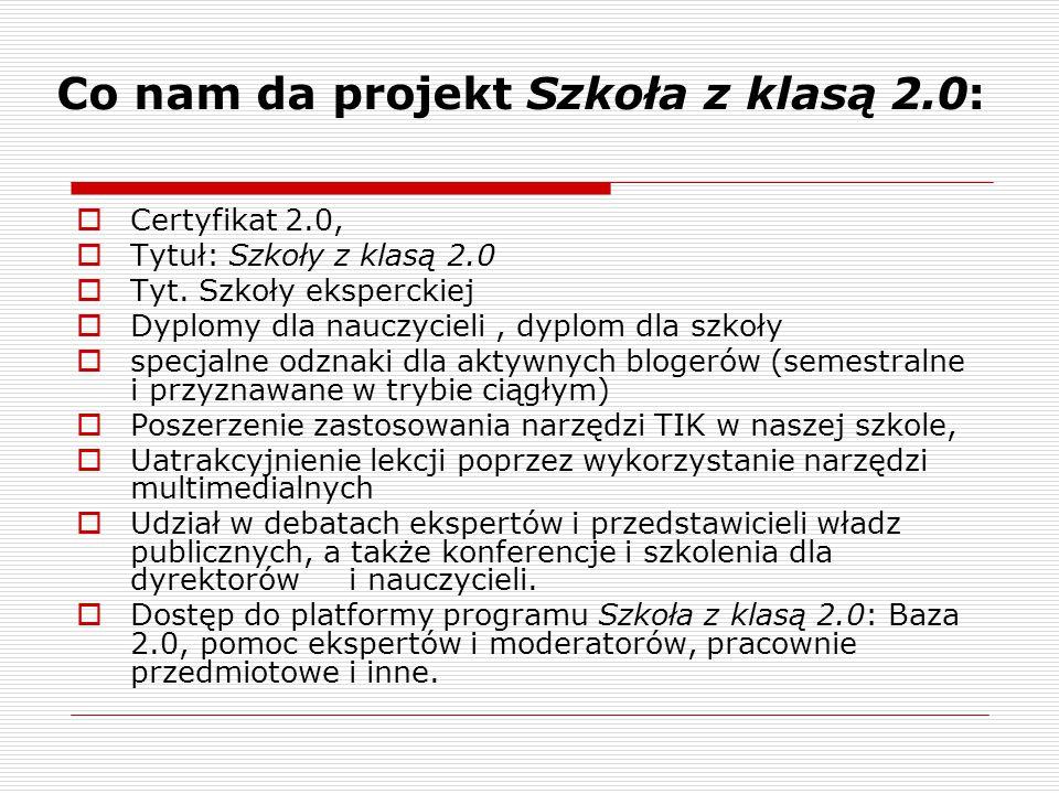 Co nam da projekt Szkoła z klasą 2.0: