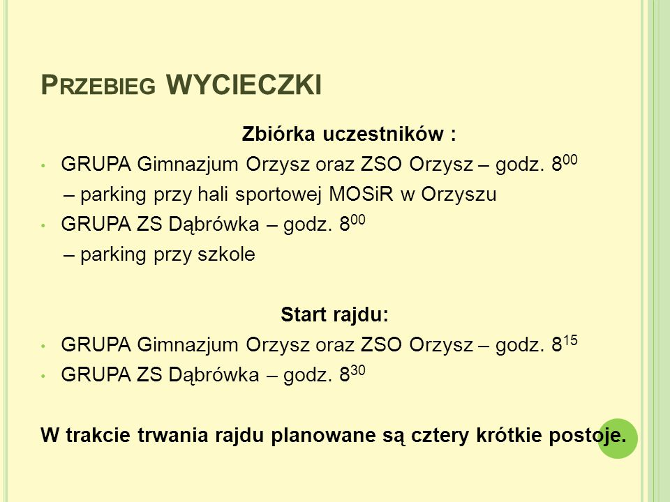 Przebieg WYCIECZKI Zbiórka uczestników :