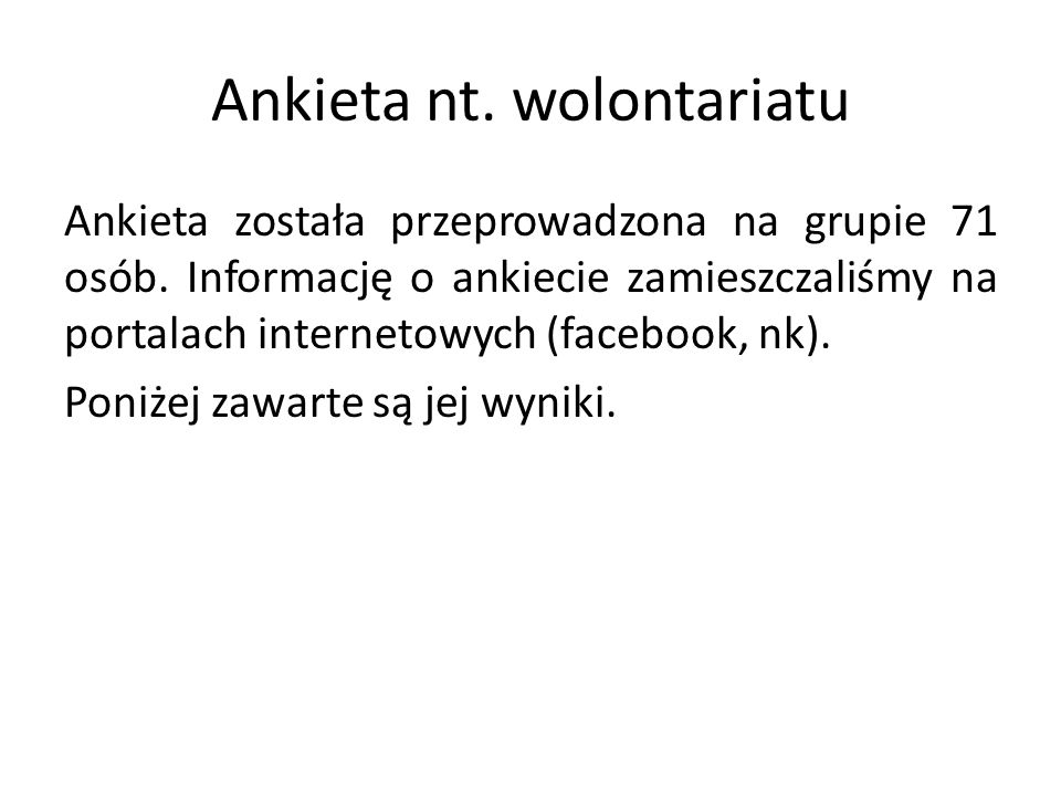 Ankieta nt. wolontariatu