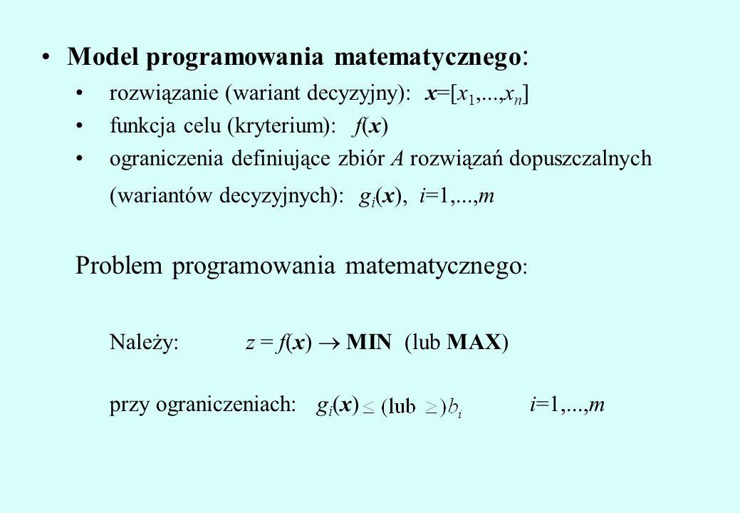 Należy: z = f(x) ® MIN (lub MAX) przy ograniczeniach: gi(x) i=1,...,m