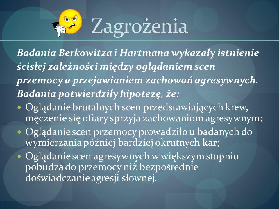 Zagrożenia Badania Berkowitza i Hartmana wykazały istnienie