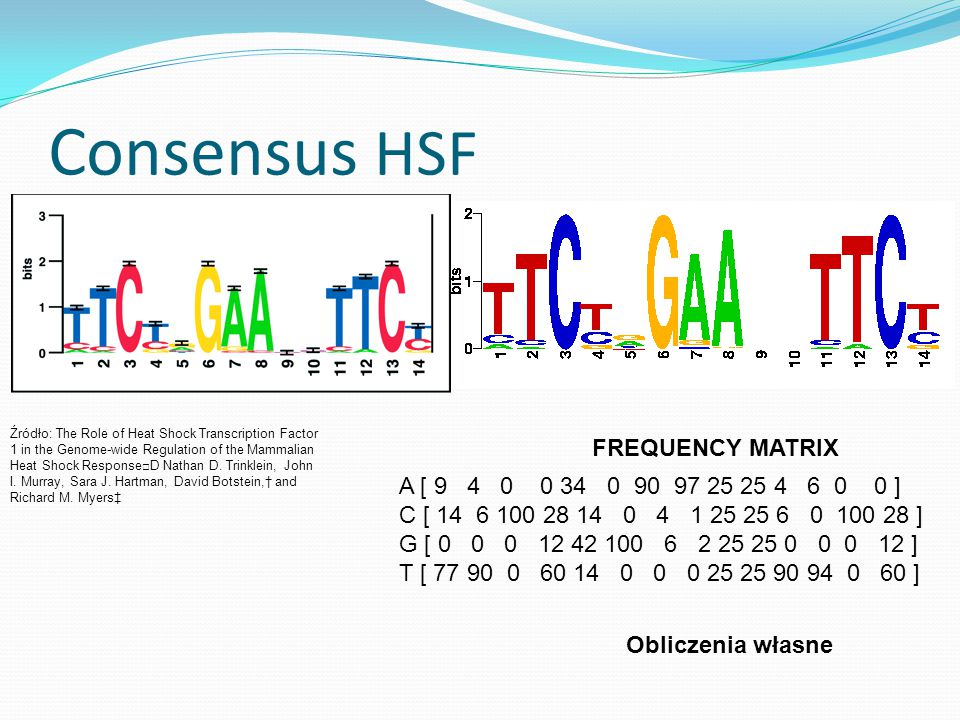 Consensus HSF FREQUENCY MATRIX A [ ]