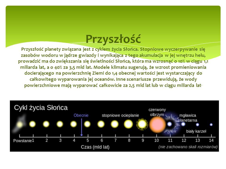 Przyszłość Przyszłość planety związana jest z cyklem życia Słońca