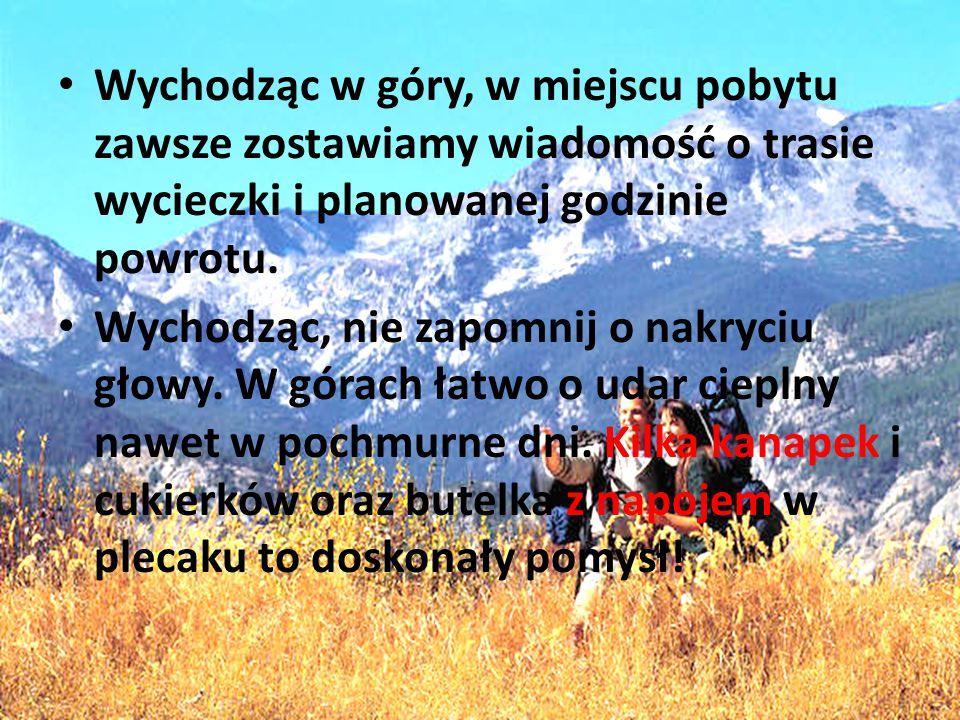 Wychodząc w góry, w miejscu pobytu zawsze zostawiamy wiadomość o trasie wycieczki i planowanej godzinie powrotu.