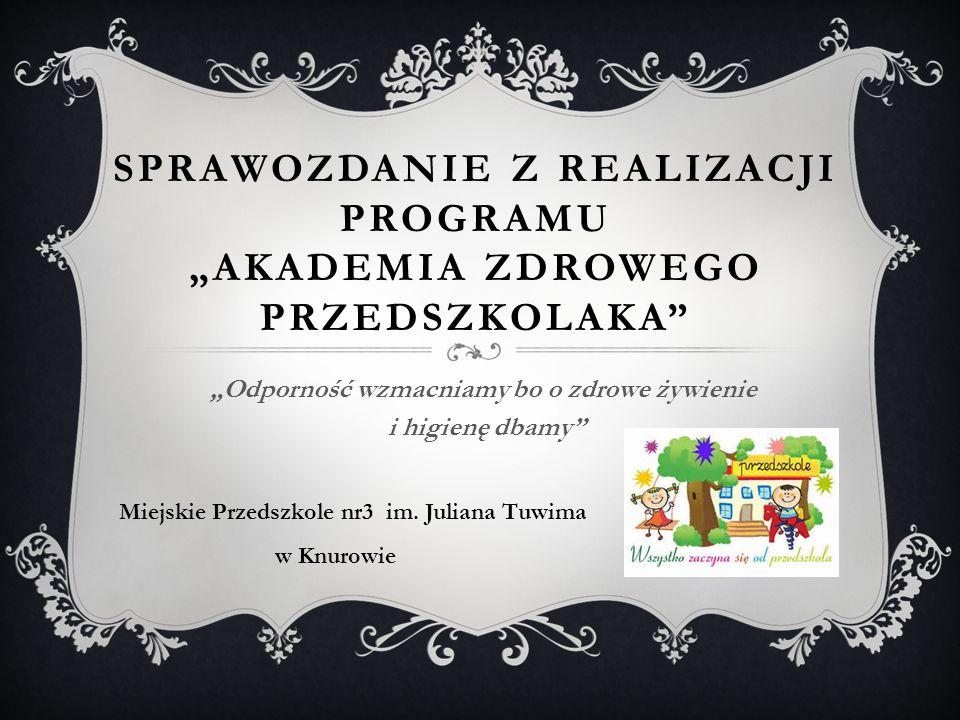 """Sprawozdanie z realizacji programu """"Akademia Zdrowego Przedszkolaka"""