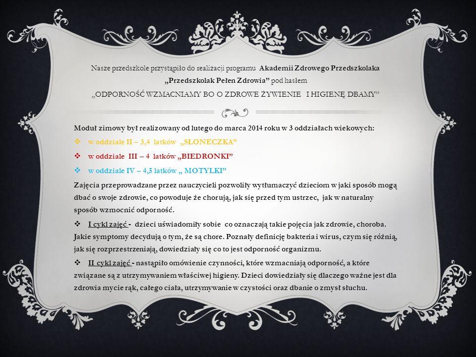 """""""ODPORNOŚĆ WZMACNIAMY BO O ZDROWE ŻYWIENIE I HIGIENĘ DBAMY"""