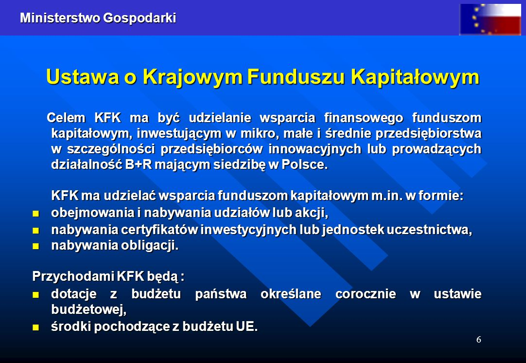 Ustawa o Krajowym Funduszu Kapitałowym