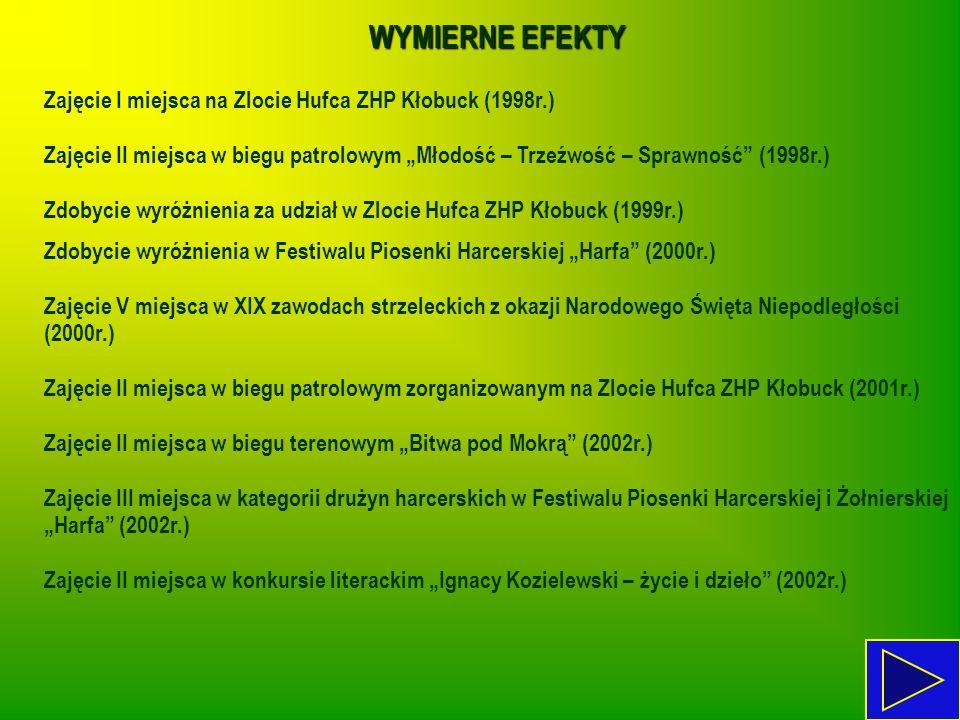 WYMIERNE EFEKTY Zajęcie I miejsca na Zlocie Hufca ZHP Kłobuck (1998r.)