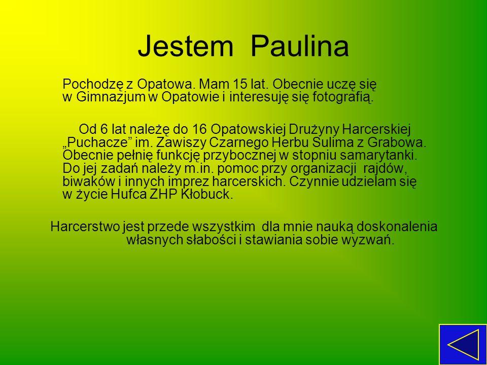 Jestem Paulina Pochodzę z Opatowa. Mam 15 lat. Obecnie uczę się w Gimnazjum w Opatowie i interesuję się fotografią.