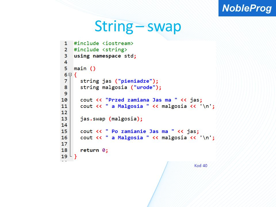 String – swap Kod 40