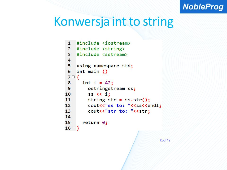 Konwersja int to string