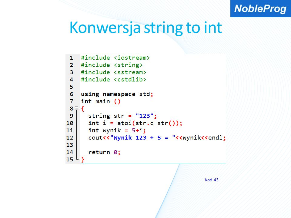 Konwersja string to int