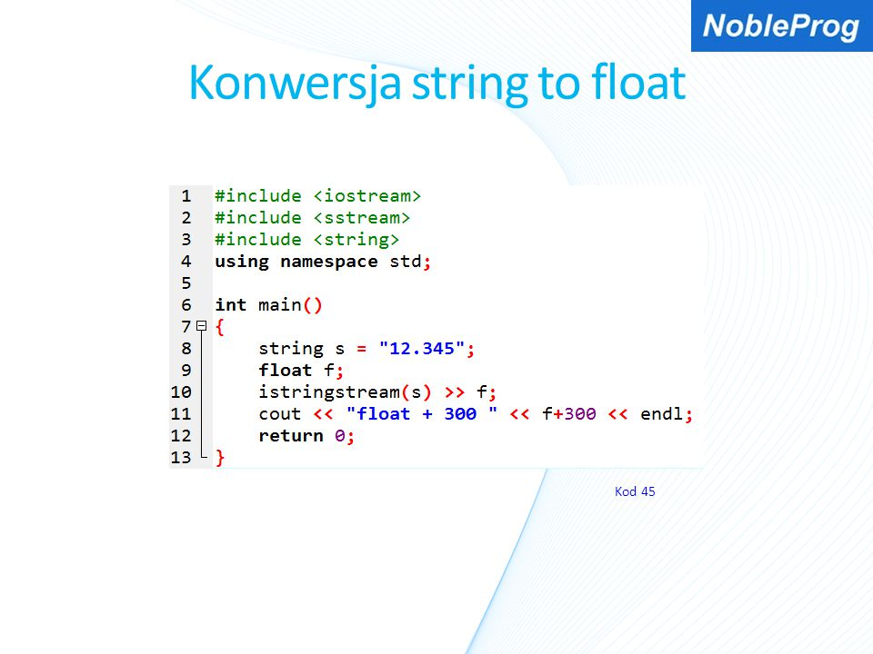 Konwersja string to float