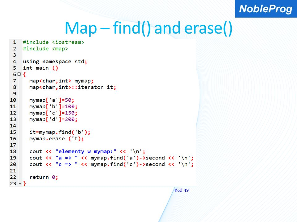 Map – find() and erase()
