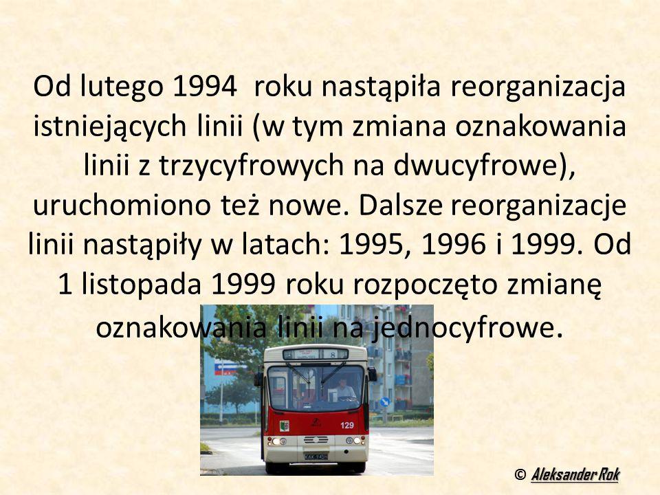 Od lutego 1994 roku nastąpiła reorganizacja istniejących linii (w tym zmiana oznakowania linii z trzycyfrowych na dwucyfrowe), uruchomiono też nowe. Dalsze reorganizacje linii nastąpiły w latach: 1995, 1996 i 1999. Od 1 listopada 1999 roku rozpoczęto zmianę oznakowania linii na jednocyfrowe.