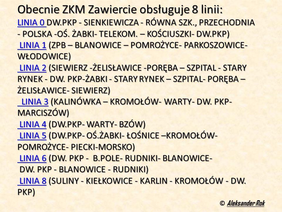 Obecnie ZKM Zawiercie obsługuje 8 linii:
