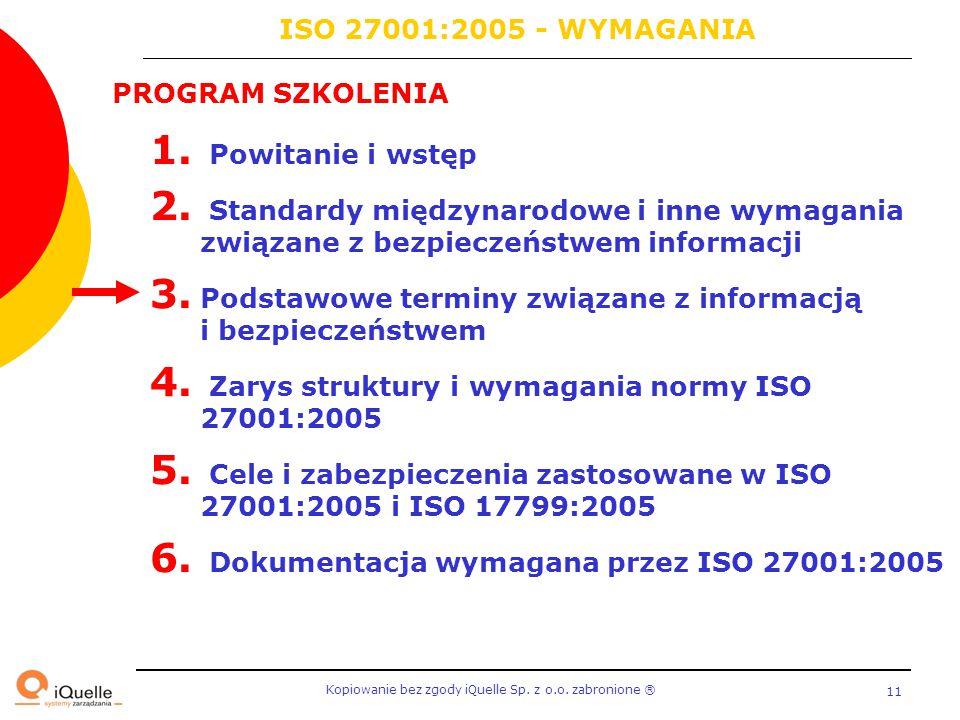 ISO 27001:2005 - WYMAGANIA PROGRAM SZKOLENIA. Powitanie i wstęp. Standardy międzynarodowe i inne wymagania związane z bezpieczeństwem informacji.