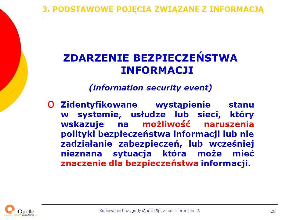 ZDARZENIE BEZPIECZEŃSTWA INFORMACJI (information security event)