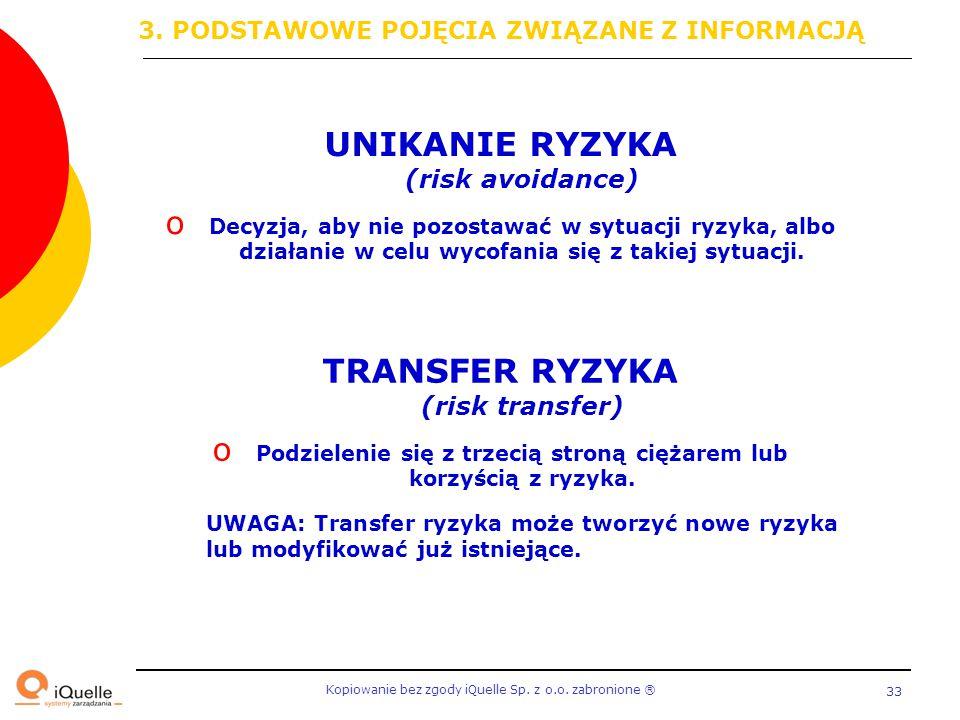 UNIKANIE RYZYKA (risk avoidance) TRANSFER RYZYKA (risk transfer)