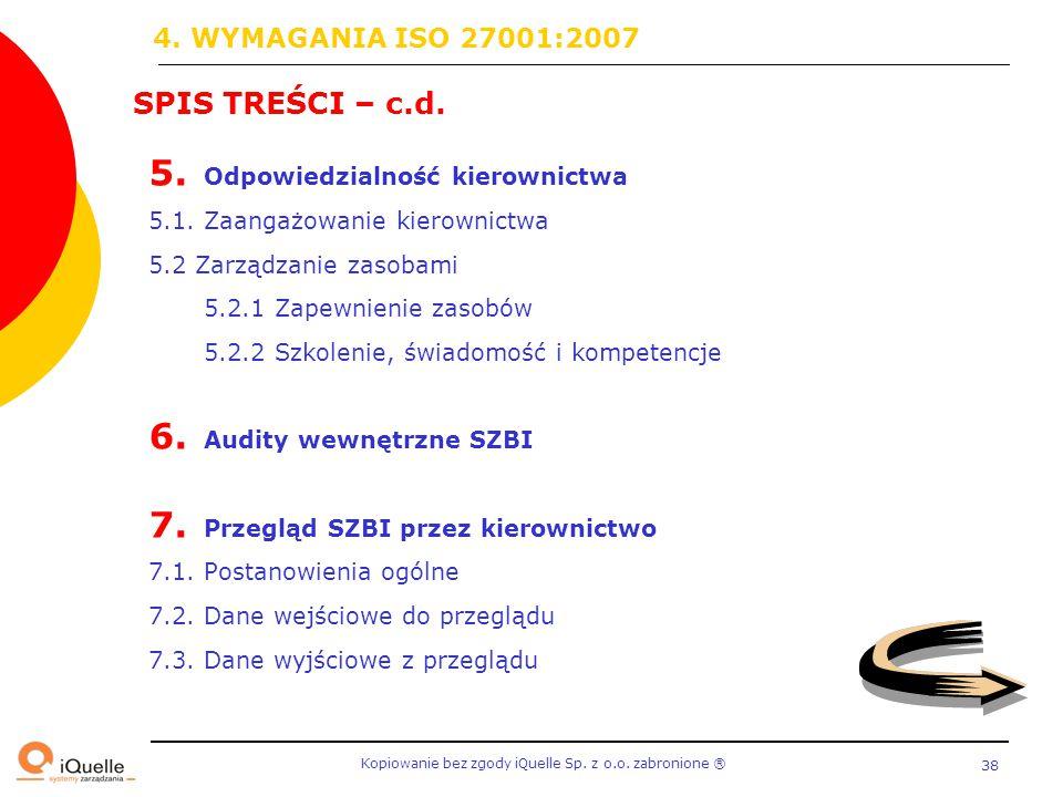 4. WYMAGANIA ISO 27001:2007 SPIS TREŚCI – c.d.