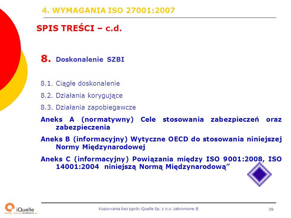 4. WYMAGANIA ISO 27001:2007 SPIS TREŚCI – c.d. Doskonalenie SZBI