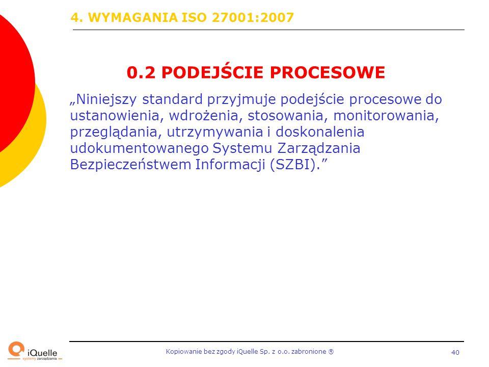 0.2 PODEJŚCIE PROCESOWE 4. WYMAGANIA ISO 27001:2007